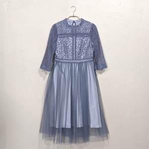 Dorry Doll レース切り替えチュールスカートワンピース M/Freeサイズ ブルー