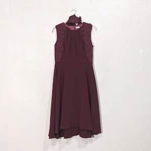 Dorry Doll レースデザインベルト付きワンピースドレス M/Freeサイズ レッド