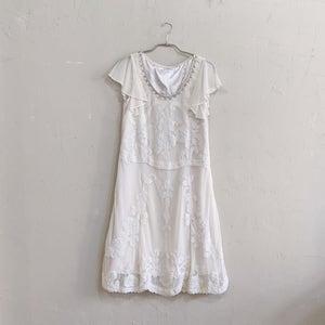 GRACE CONTINENTAL チュールフラワーカット刺繍ワンピースドレス Sサイズ ベージュ