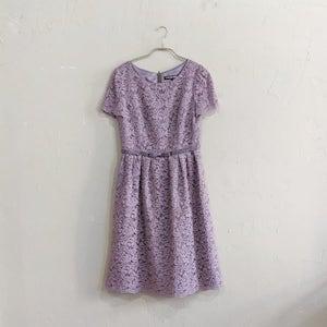 STRAWBERRY-FIELDS ラメレースウエストリボンワンピースドレス M/Freeサイズ ピンク