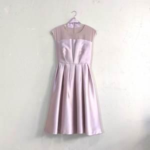 12Twelve Agenda シースルー切替サテンワンピースドレス M/Freeサイズ ピンク