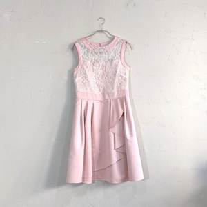 レース切り替え前フリルワンピースドレス M/Freeサイズ ピンク