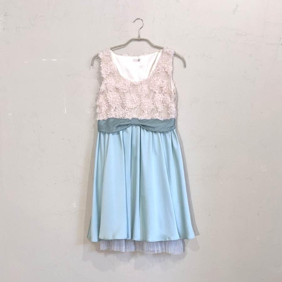 Dorry Doll バイカラーフラワー総レースドレス M/Freeサイズ グリーン