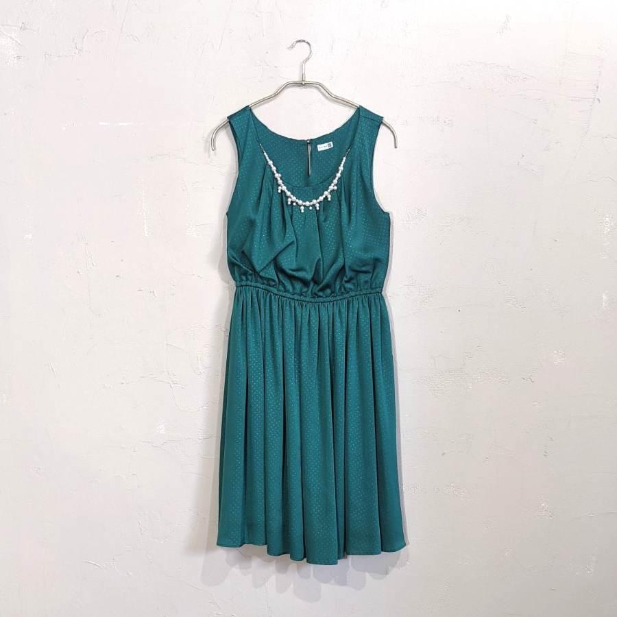Dorry Doll ネックレス付き薄ドットワンピドレス M/Freeサイズ グリーン