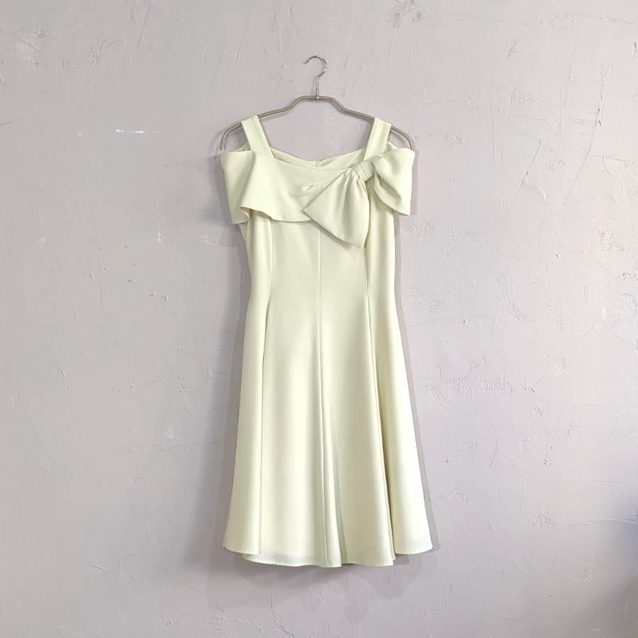 Dorry Doll デコルテリボンミディアムドレス M/Freeサイズ イエロー