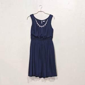 Dorry Doll ネックレス付き薄ドットワンピドレス M/Freeサイズ ネイビー