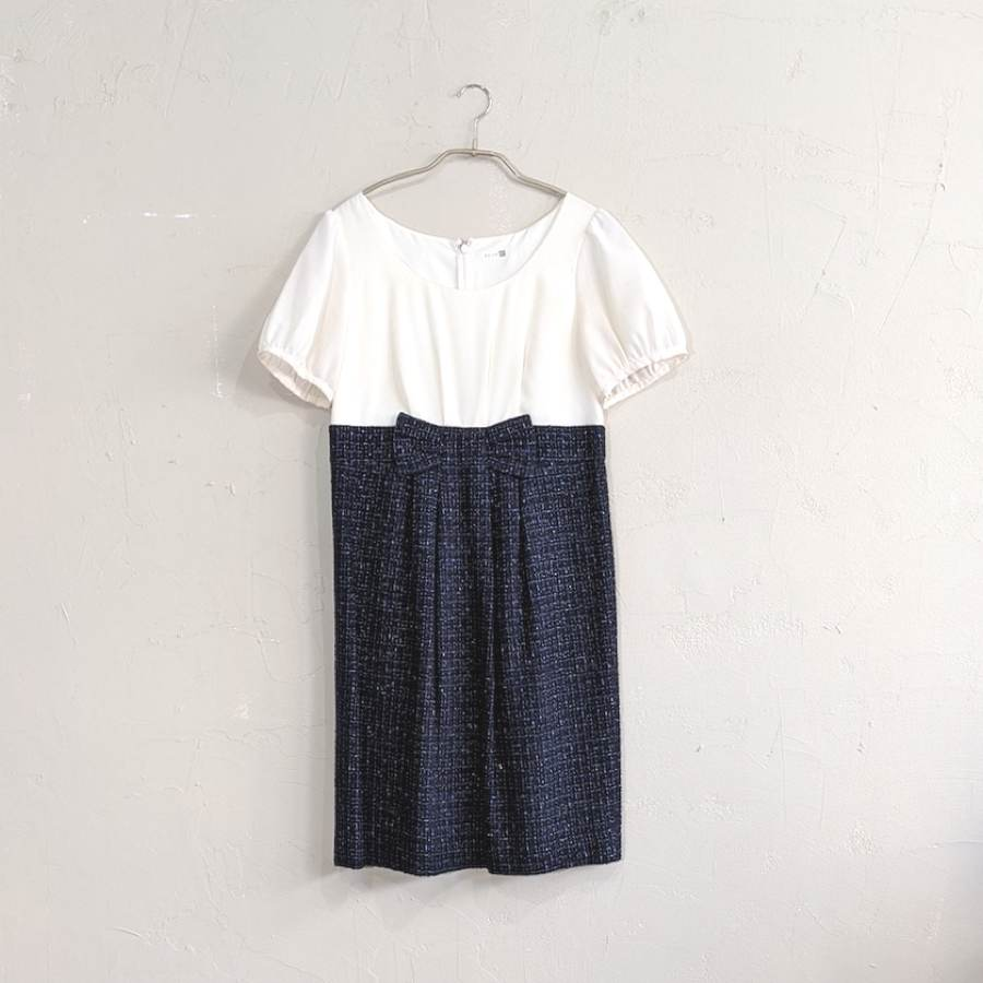 LAISSE PASSE バイカラー切替ウエストリボンツイードワンピースドレス Sサイズ ホワイト