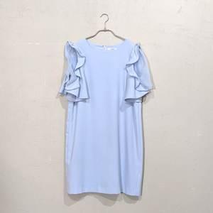 SNIDEL 袖シースルーフリルワンピ M/Freeサイズ ブルー