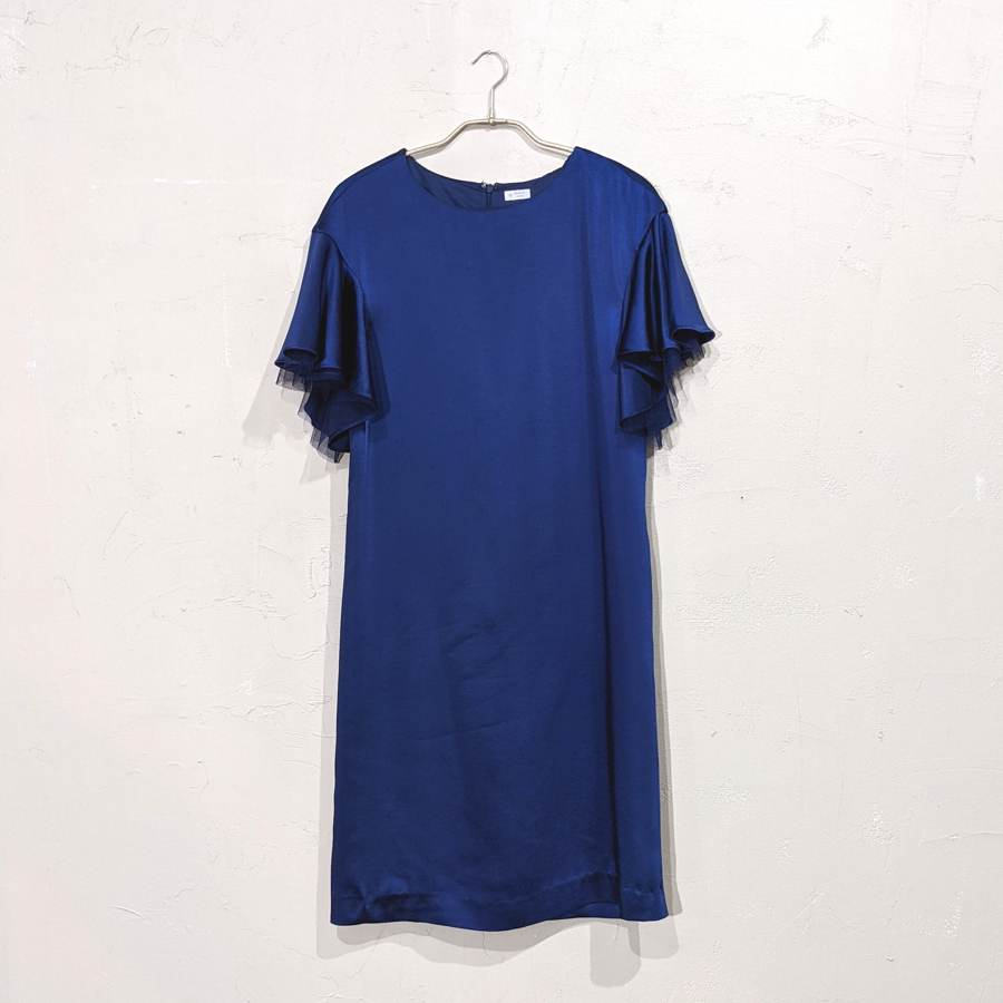 袖付きシンプルパーティードレス M/Freeサイズ ブルー