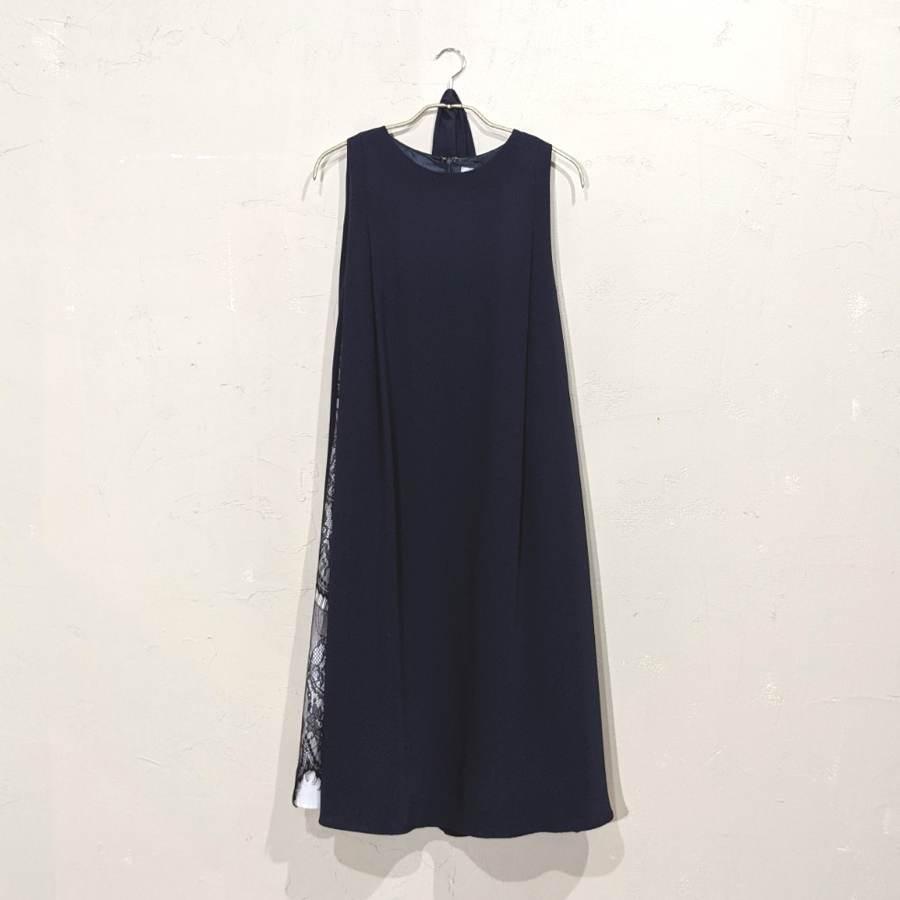 Dorry Doll サイドレースデザインAラインワンピースドレス M/Freeサイズ ネイビー