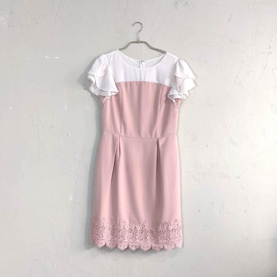 LAISSE PASSE フリルショルダーコクーンワンピースドレス Sサイズ ピンク
