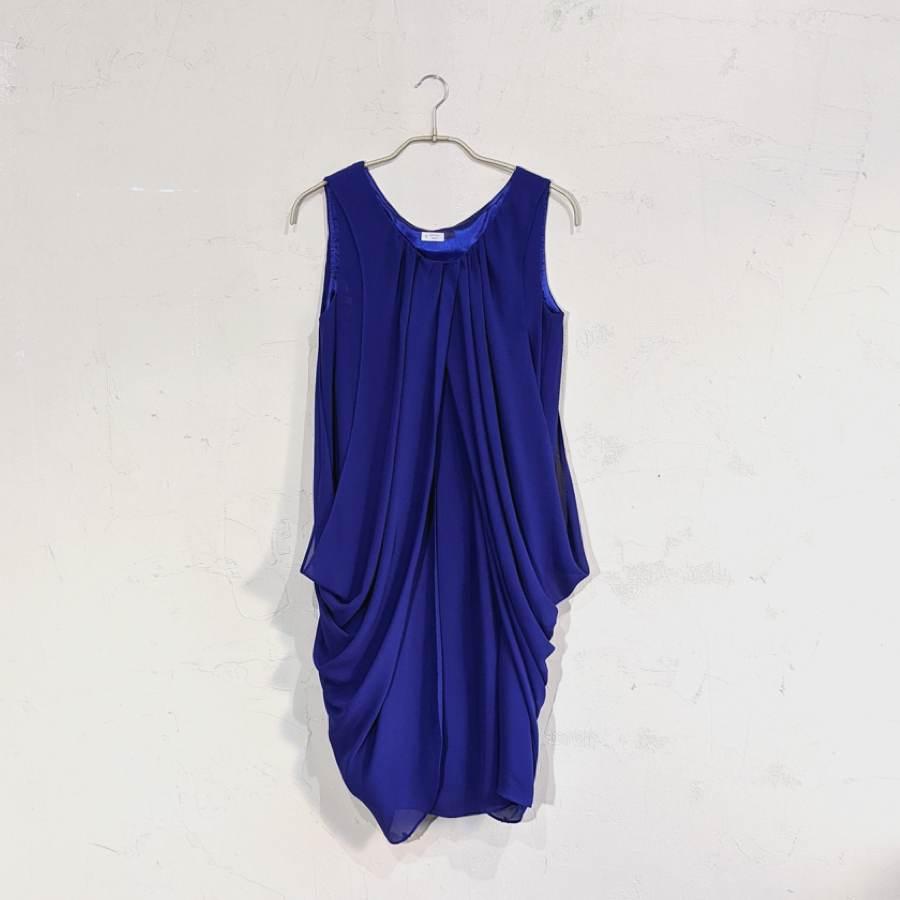 LAISSE PASSE ドレープデザインワンピースドレス M/Freeサイズ ブルー