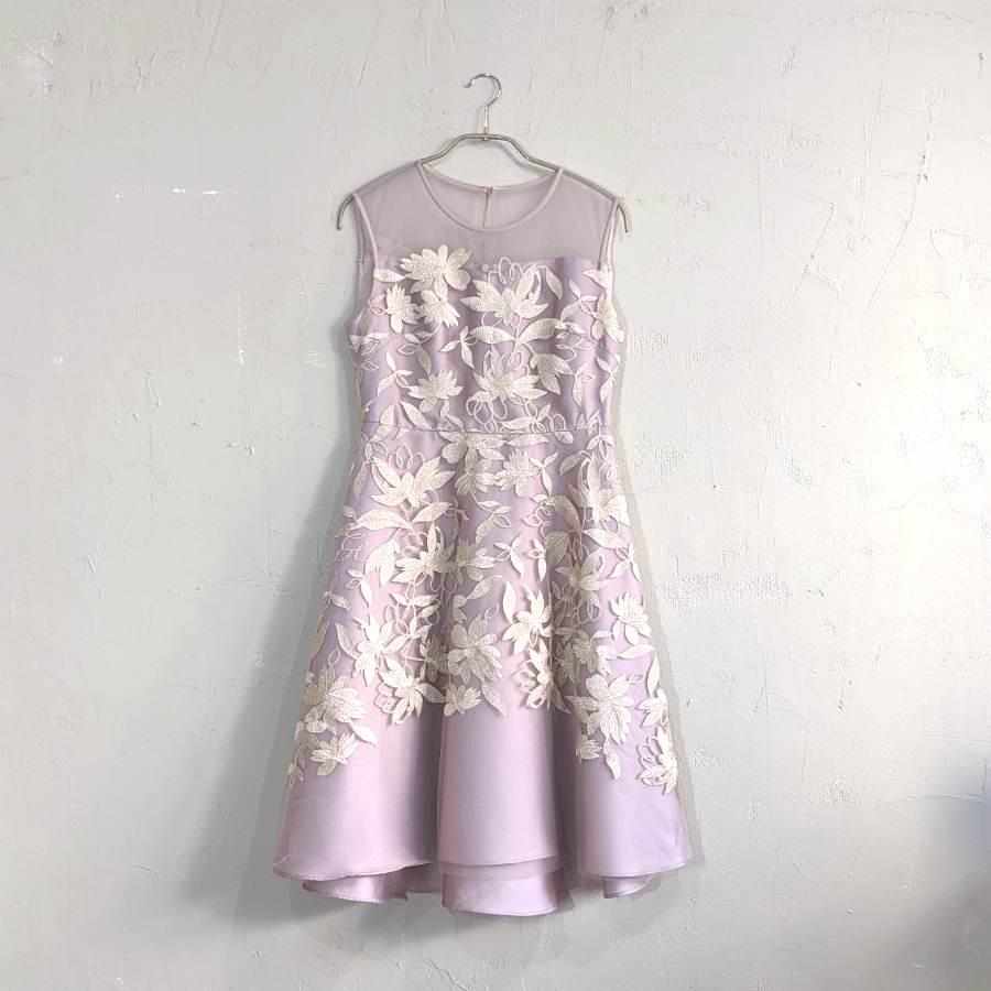 Dorry Doll フラワー刺繍レースチュールレイヤードフィット&フレアーワンピース M/Freeサイズ パープル