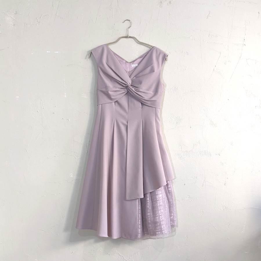 Dorry Doll フロントリボンスリットオーガンジーワンピースドレス M/Freeサイズ ピンク