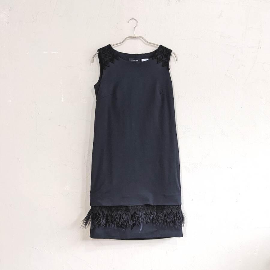 ESTNATION 裾フェザーデザインノースリーブワンピースドレス M/Freeサイズ ブラック