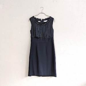 ウエスト切替プリーツデザインワンピースドレス Sサイズ ブラック