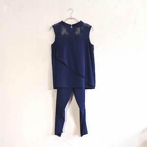 Dorry Doll フロントフリルラインパンツドレス M/Freeサイズ ブルー