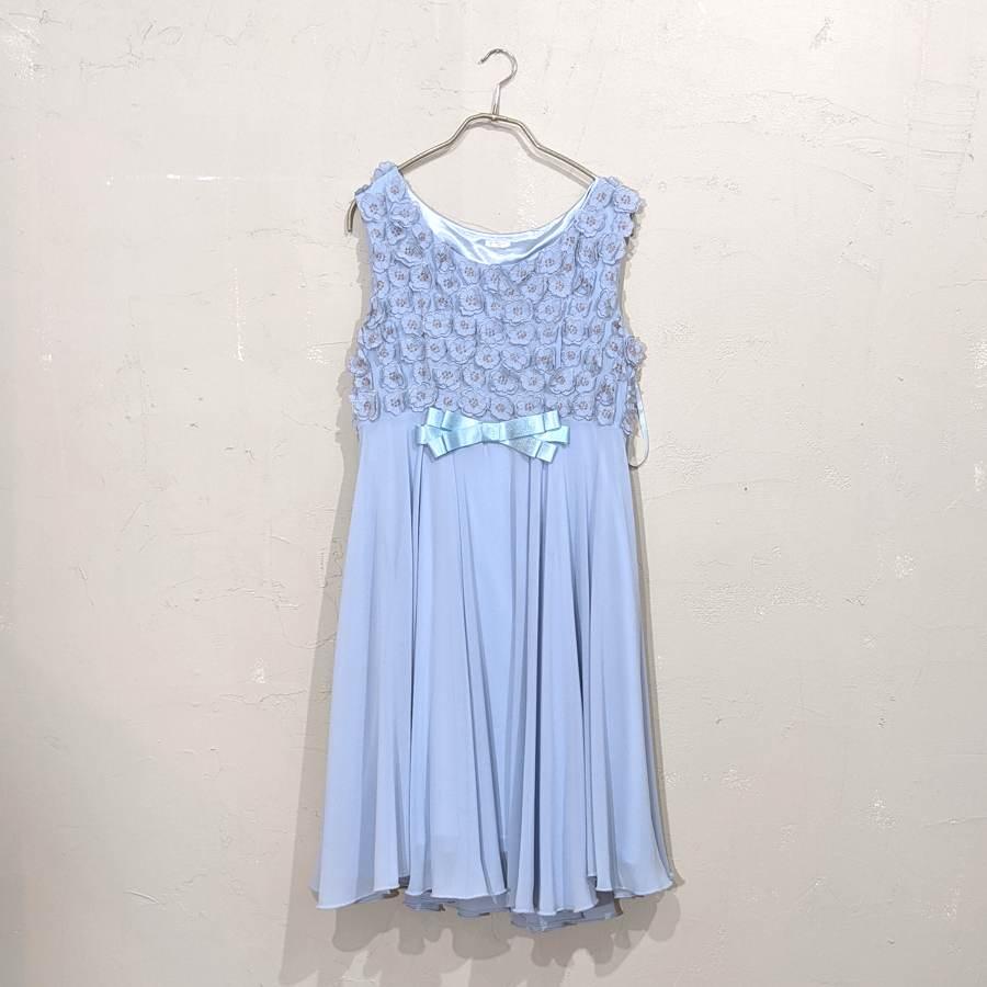 Dorry Doll お花刺繍リボンつき切替えワンピース M/Freeサイズ ブルー