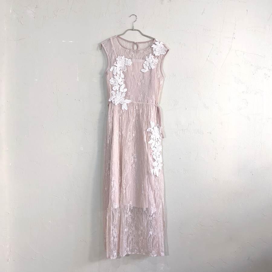 Dorry Doll 大判刺繍入りレースワンピースドレス M/Freeサイズ ピンク