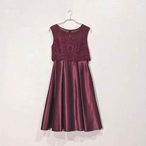 Dorry Doll 花柄刺繍サテンワンピースドレス M/Freeサイズ レッド
