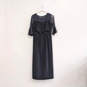 Dorry Doll デコルテシアーレース切替アイラインシルエットロングワンピースドレス M/Freeサイズ ブラック