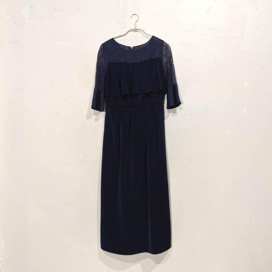 Dorry Doll デコルテシアーレース切替アイラインシルエットロングワンピースドレス M/Freeサイズ ネイビー