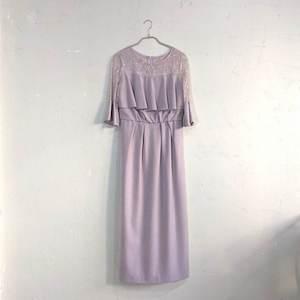 Dorry Doll デコルテシアーレース切替アイラインシルエットロングワンピースドレス M/Freeサイズ パープル