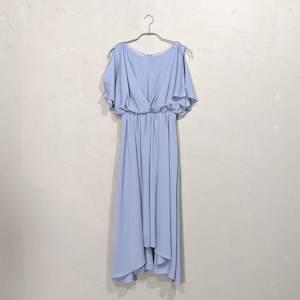 Fashion Letter ウエストシャーリングパーティードレス M/Freeサイズ ブルー