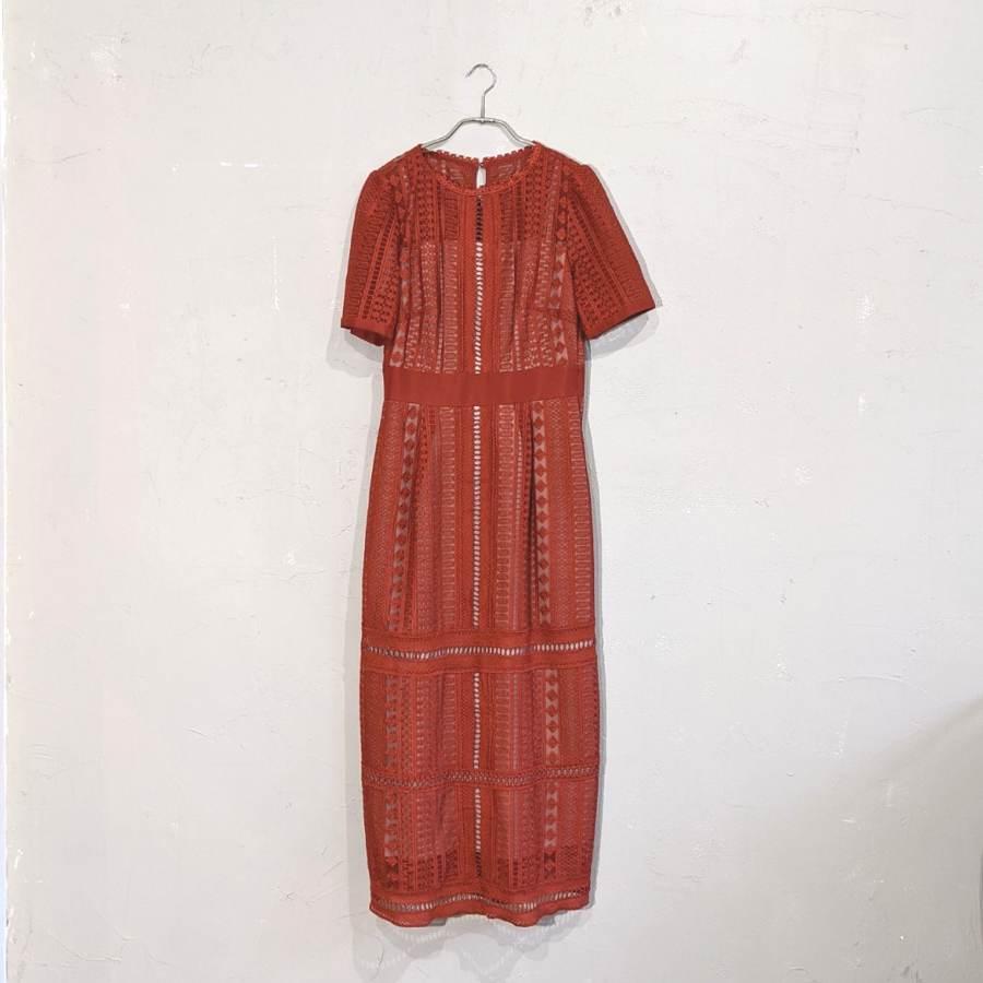 Dorry Doll 総レースIラインワンピースドレス M/Freeサイズ オレンジ