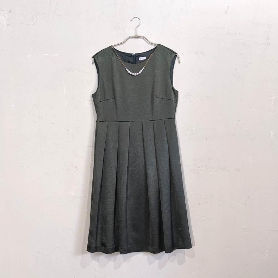 Dorry Doll ウエストタックサテンワンピースドレス M/Freeサイズ グリーン