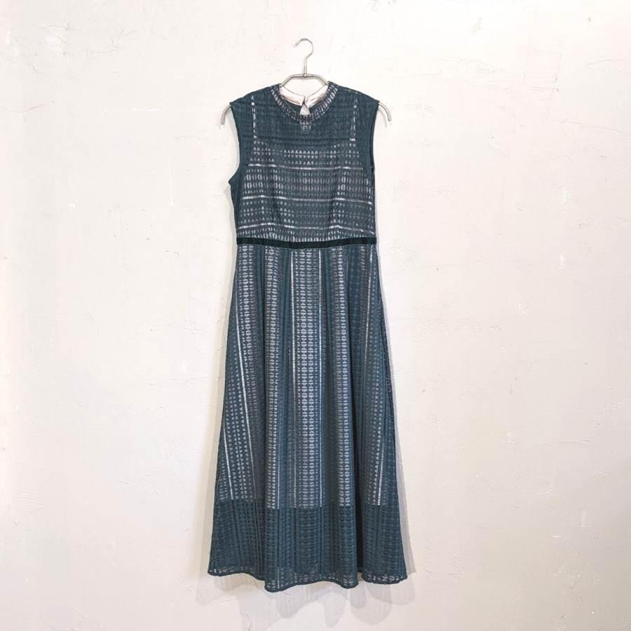 ROSE BUD 幾何レースノースリーブドレス M/Freeサイズ グリーン
