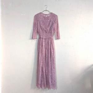 Dorry Doll ウエストシャーリングレースドレス M/Freeサイズ ピンク