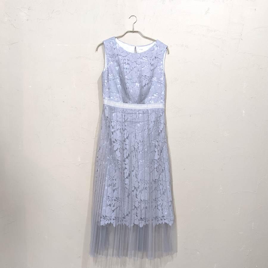 Dorry Doll フラワーモチーフシフォンワンピースドレス M/Freeサイズ シルバー
