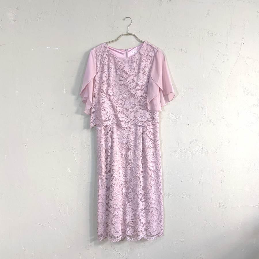 総レースフレアスリーブワンピースドレス M/Freeサイズ ピンク