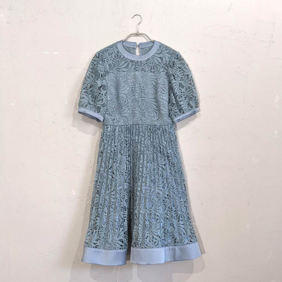 Dorry Doll 総レース柄パイピングプリーツワンピースドレス M/Freeサイズ グリーン