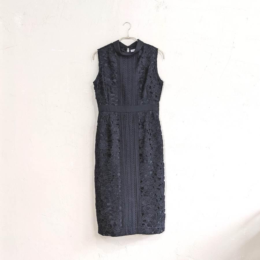ハイネックケミカルレース使いタイトワンピースドレス M/Freeサイズ ブラック