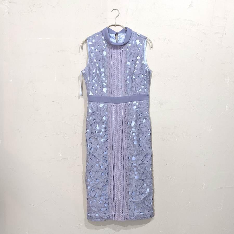 ハイネックケミカルレース使いタイトワンピースドレス M/Freeサイズ ブルー