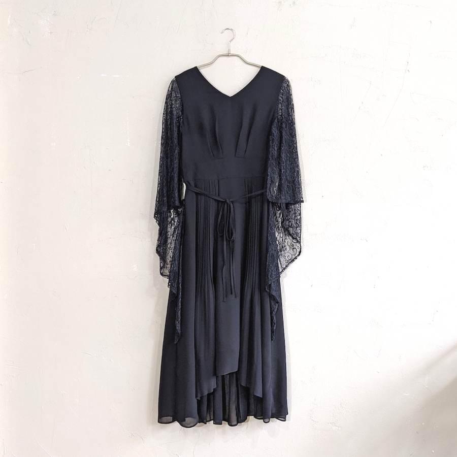 Dorry Doll レーススリーブプリーツワンピースドレス M/Freeサイズ ブラック