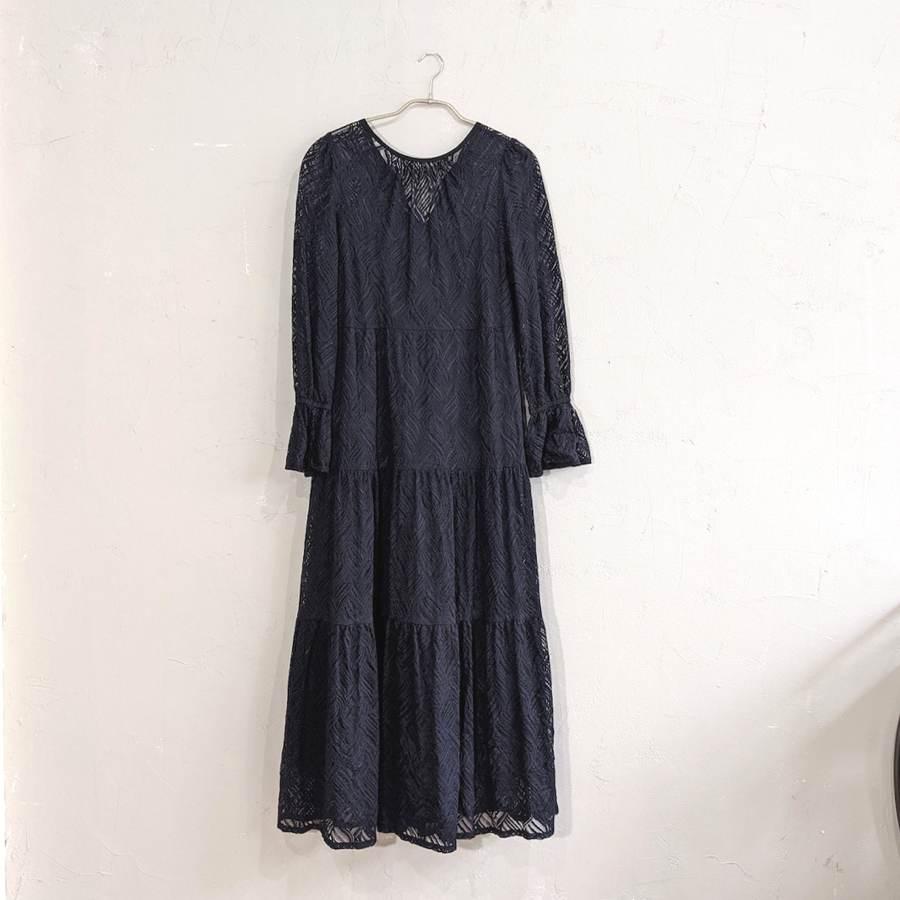 Dorry Doll 総レースティアードワンピースドレス M/Freeサイズ ブラック