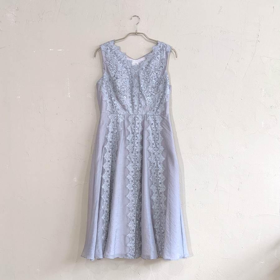 Dorry Doll 縦レースラインシフォンワンピースドレス M/Freeサイズ シルバー
