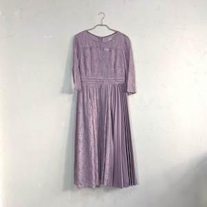 Dorry Doll 総レースプリーツデザインワンピースドレス M/Freeサイズ パープル