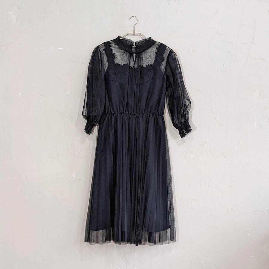 総チュールフリルデザインワンピースドレス M/Freeサイズ ブラック
