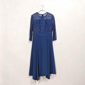 Dorry Doll レース切り替えサテンワンピースドレス M/Freeサイズ ブルー