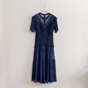 SNIDEL バリエーションレースロングワンピースドレス Sサイズ ネイビー