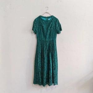 AIMER 総レースタック入りワンピースドレス M/Freeサイズ グリーン