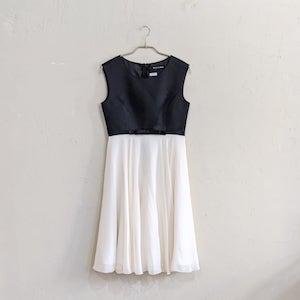 STRAWBERRY-FIELDS バイカラーシフォンフレアワンピースドレス M/Freeサイズ ブラック
