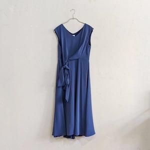 STRAWBERRY-FIELDS ドレープクロスワンピースドレス Sサイズ ブルー