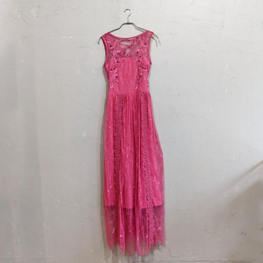SNIDEL レースエンブロイダリーロングワンピース M/Freeサイズ ピンク