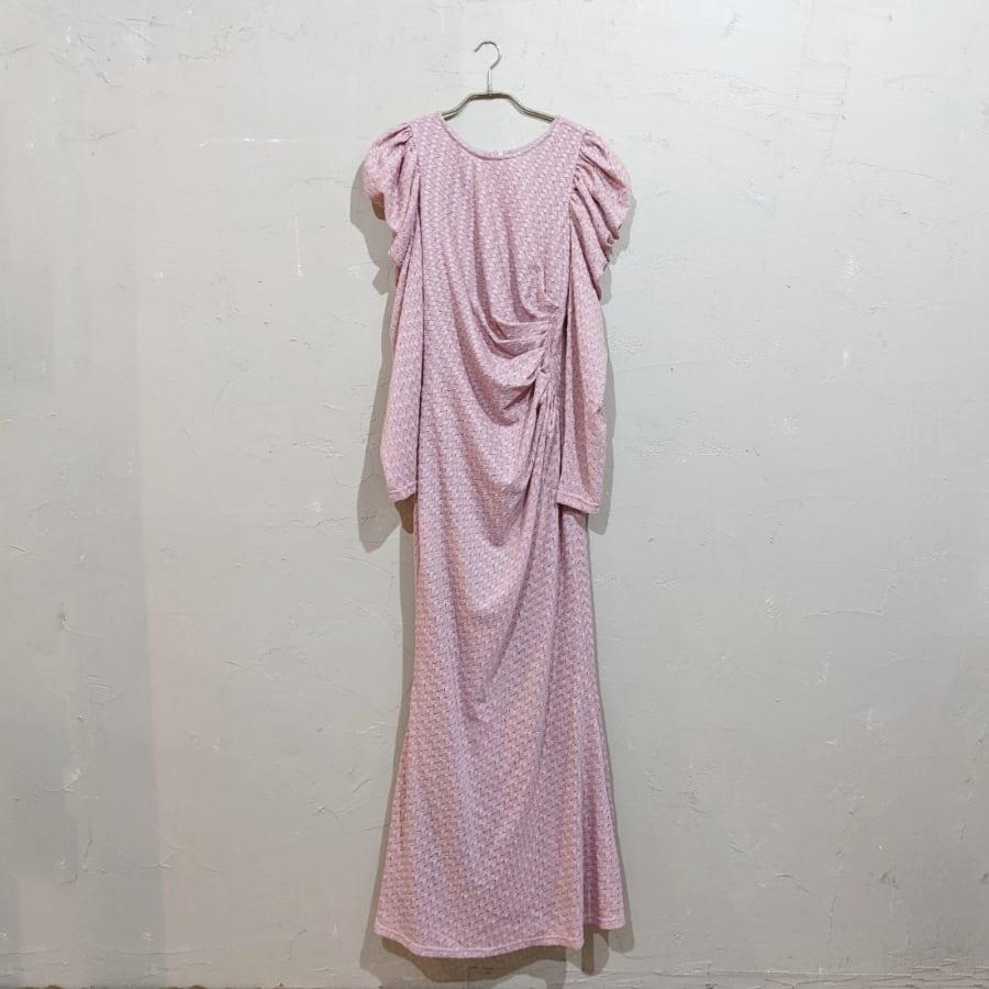 SHEIN ドレープデザインパフスリーブドレス Sサイズ ピンク