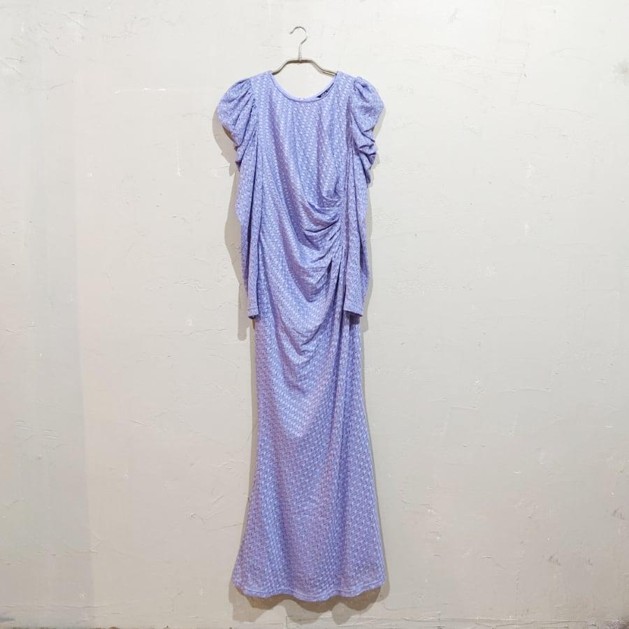SHEIN ドレープデザインパフスリーブドレス Sサイズ パープル